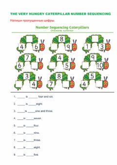 Interactive worksheet Very Hungry Caterpillar Number sequencing