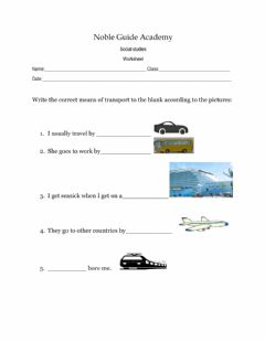 Interactive worksheet Means of Transportion