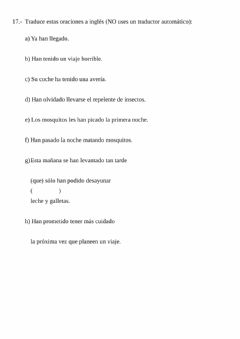 Ficha interactiva Review work 15 - Translation from Spanish (present perfect)
