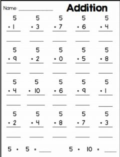 Ficha interactiva Addition Practice -- Adding 5