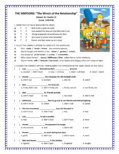 Interactive worksheet Simple Past The Simpsons Video Activity