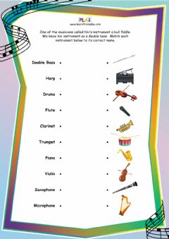 Interactive worksheet Double Bass Blues - Instruments Match