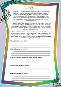 Interactive worksheet Double Bass Blues - Blues Comprehension