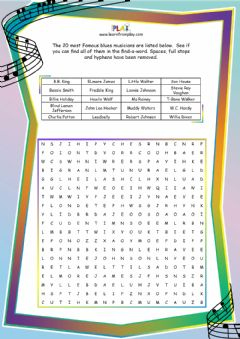 Interactive worksheet Double Bass Blues - Find-A-Word
