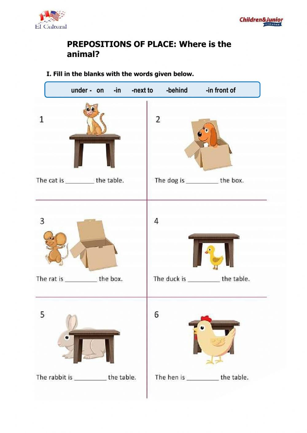 Preposition of place - Interactive worksheet
