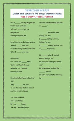Interactive worksheet The Verb to Be in past Listening