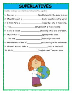Interactive worksheet Superlatives Fill in the Blanks