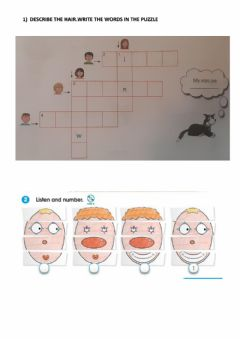 Interactive worksheet Describing face and hair