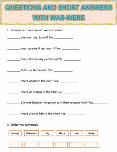Ficha interactiva Questions and short answers with was-were