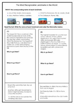 Interactive worksheet Landmarks