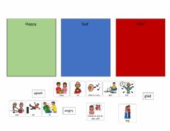 Interactive worksheet Actions to Emotions sort