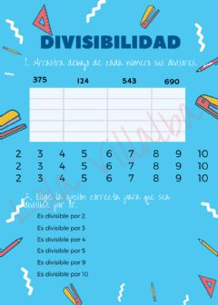 Interactive worksheet Criterios de Divisibilidad 1