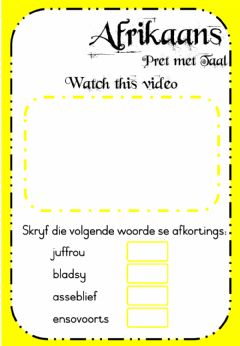 Ficha interactiva Week 22 - Afrikaans - Thursday