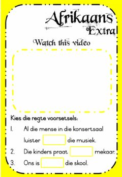 Interactive worksheet Week 22 - Afrikaans - Monday Extra