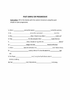 Interactive worksheet Past simple Vs Past progressive