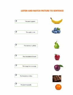 Interactive worksheet listen foods