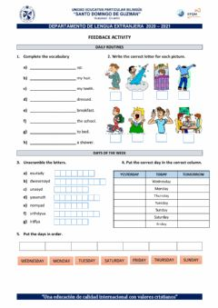 Interactive worksheet Feedback Activity - 3rd grade