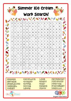 Interactive worksheet Pad31a  5-6 Ice-Cream word search2