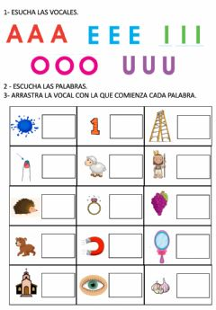 Interactive worksheet RECONOCER SONIDOS INICIALES: VOCALES