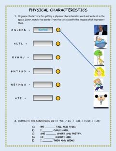 Interactive worksheet Physical adjectives