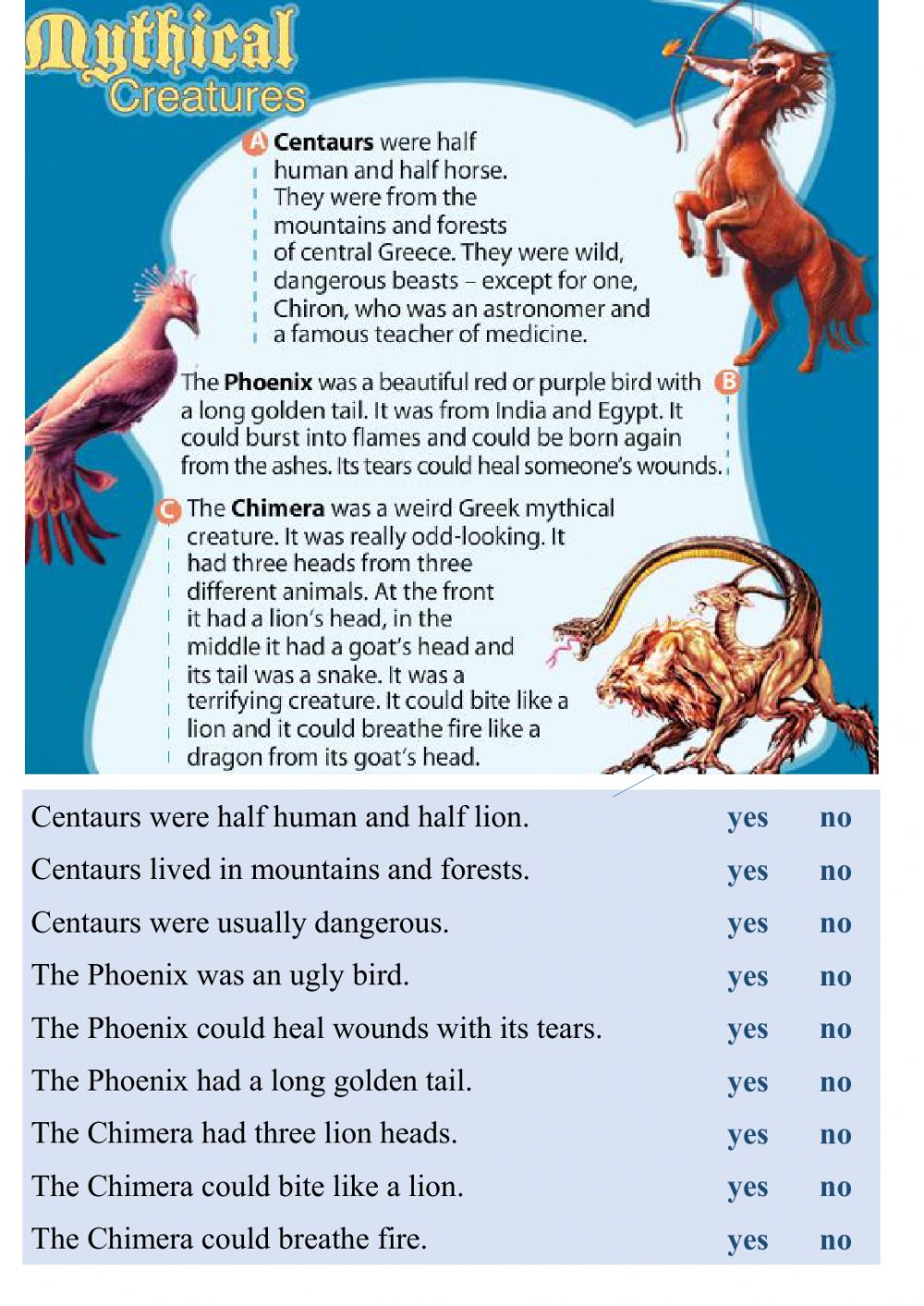Reading - Mythical creatures worksheet