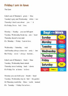 Interactive worksheet Friday I am in love