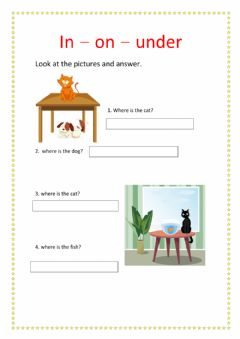 Interactive worksheet PREPOSITION OF PLACE IN, ON, UNDER.