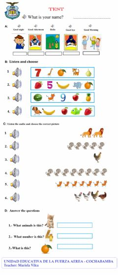 Interactive worksheet TEST 2DO PRIMARY