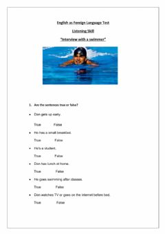 Interactive worksheet Interview with a swimmer - Listening Skill