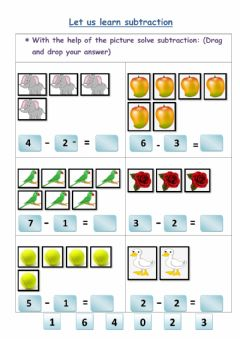 Interactive worksheet Let us learn substraction