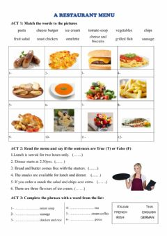 Interactive worksheet A restaurant menu