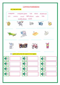 Interactive worksheet Common possessions