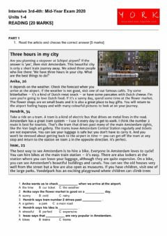Interactive worksheet Intensive 3rd and 4th mid year exam: reading
