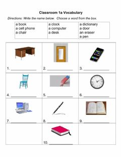 Interactive worksheet Classroom Vocabulary 1A