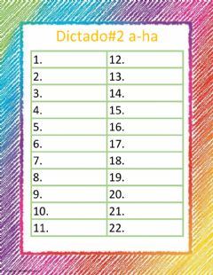 Interactive worksheet Dictado a-ha