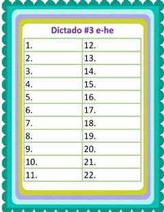 Interactive worksheet Dictado e-he