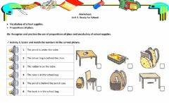 Interactive worksheet Prepositions of place and school supplies