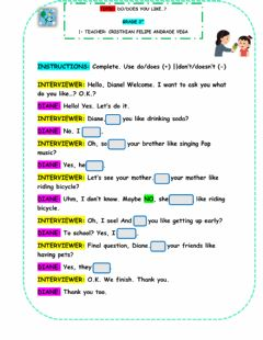 Ficha interactiva Auxiliary Verbs: DO-DOES