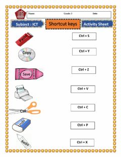 Interactive worksheet Shortcut keys ICT