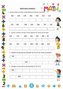 Interactive worksheet Ordenando  números
