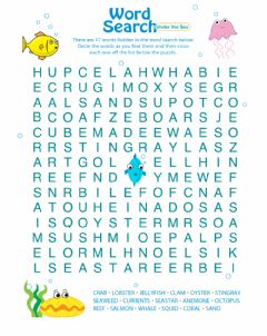 Interactive worksheet Under The Sea Word Search
