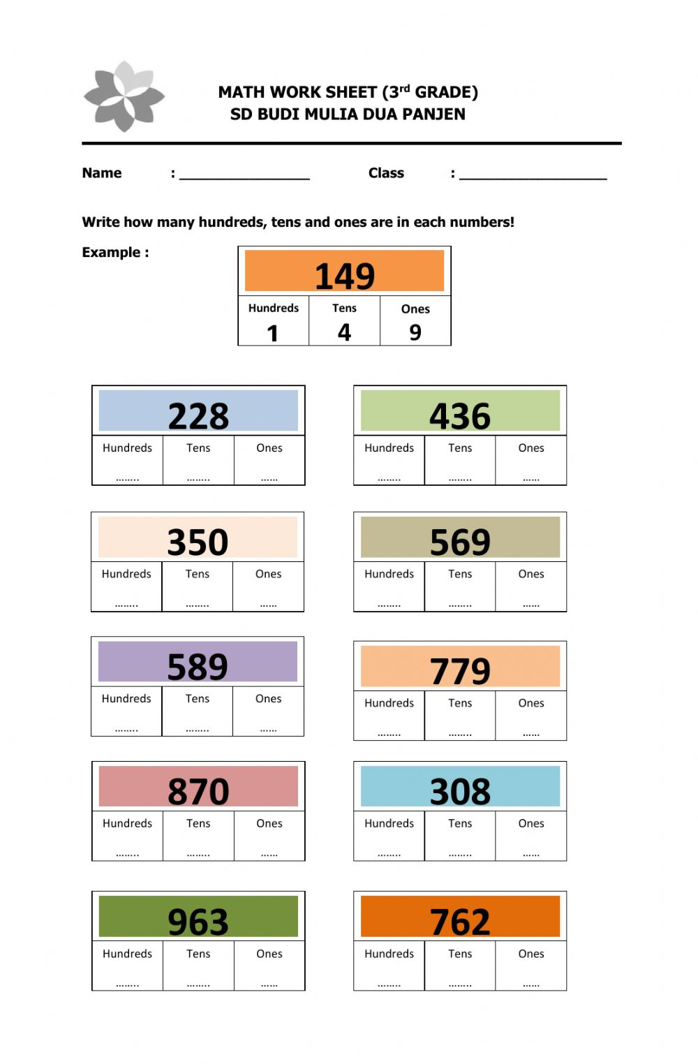Write Hundreds, Tens and Ones worksheet