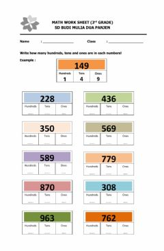 Interactive worksheet Write Hundreds, Tens and Ones
