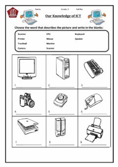 Interactive worksheet Parts of a Computer