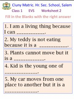 Interactive worksheet Class 1 EVS 2 - living and on-living things