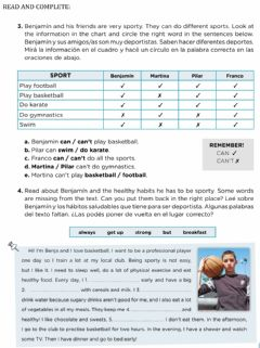 Interactive worksheet Sports reading