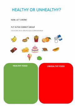 Interactive worksheet Healthy-unhealthy