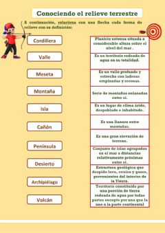 Interactive worksheet Conociendo el relieve terrestre
