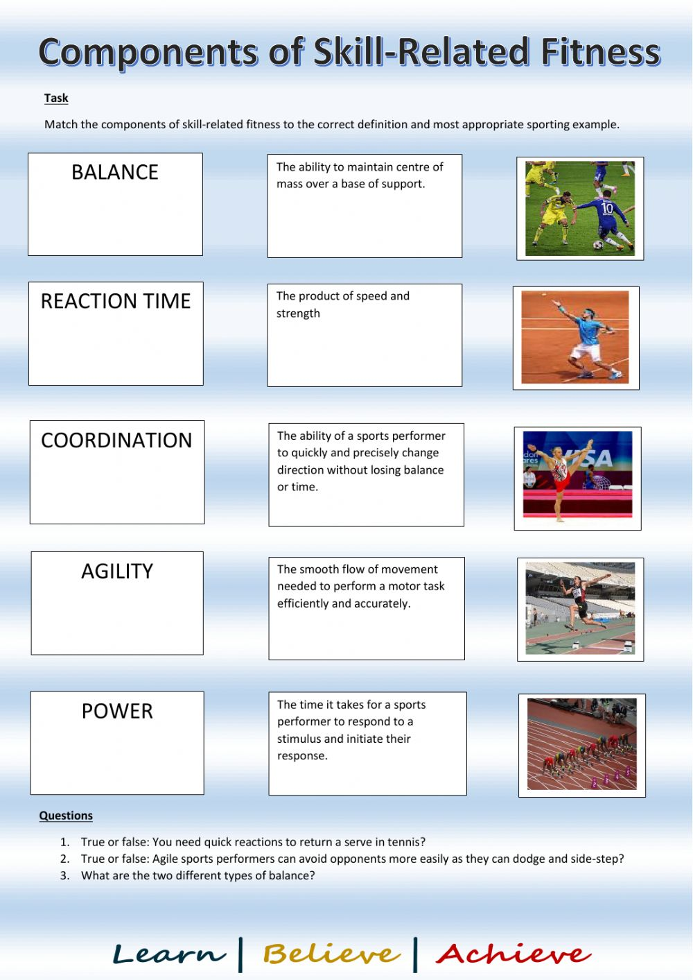 Components of skill-related fitness worksheet