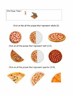 Interactive worksheet Fractions:whole,half,quarter